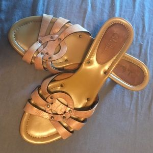 Cole Haan Leather Slip-on Heel Sandals 7.5